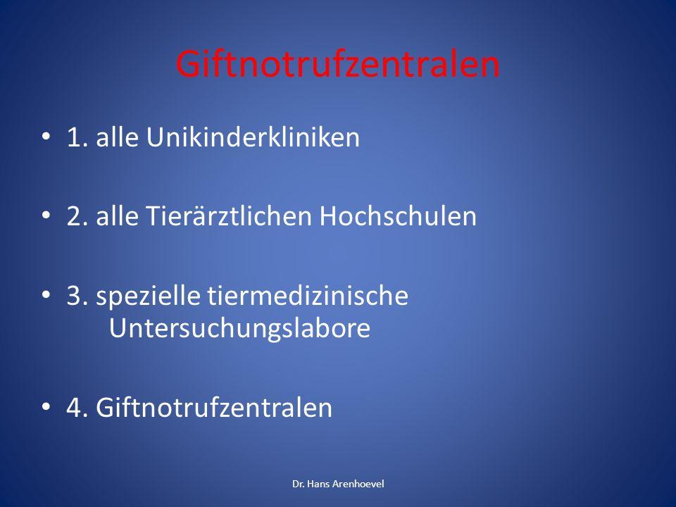 z.B. Informationszentrale gegen Vergiftungen der Uni Bonn www.meb.uni-bonn.de/giftzentrale Dr.