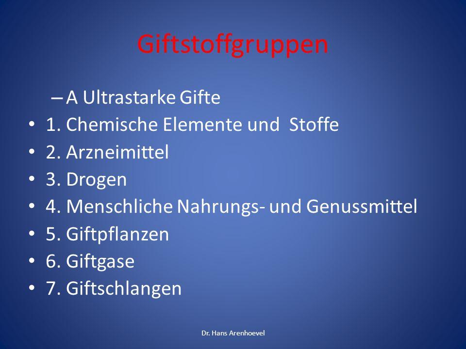 Giftstoffgruppen – A Ultrastarke Gifte 1. Chemische Elemente und Stoffe 2. Arzneimittel 3. Drogen 4. Menschliche Nahrungs- und Genussmittel 5. Giftpfl