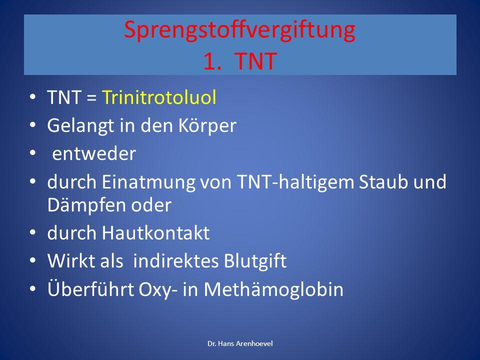 Sprengstoffvergiftung 1. TNT TNT = Trinitrotoluol Gelangt in den Körper entweder durch Einatmung von TNT-haltigem Staub und Dämpfen oder durch Hautkon