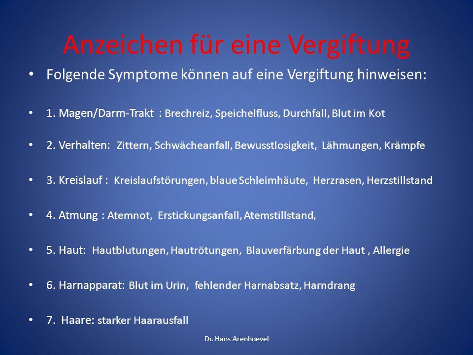 Anzeichen für eine Vergiftung Folgende Symptome können auf eine Vergiftung hinweisen: 1. Magen/Darm-Trakt : Brechreiz, Speichelfluss, Durchfall, Blut