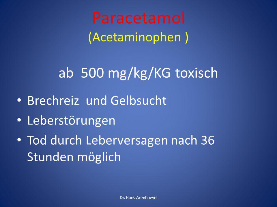 Paracetamol (Acetaminophen ) ab 500 mg/kg/KG toxisch Brechreiz und Gelbsucht Leberstörungen Tod durch Leberversagen nach 36 Stunden möglich Dr. Hans A