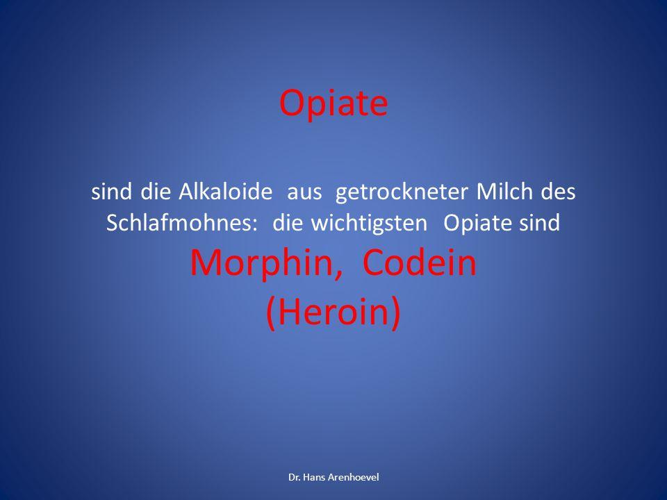Opiate sind die Alkaloide aus getrockneter Milch des Schlafmohnes: die wichtigsten Opiate sind Morphin, Codein (Heroin) Dr. Hans Arenhoevel