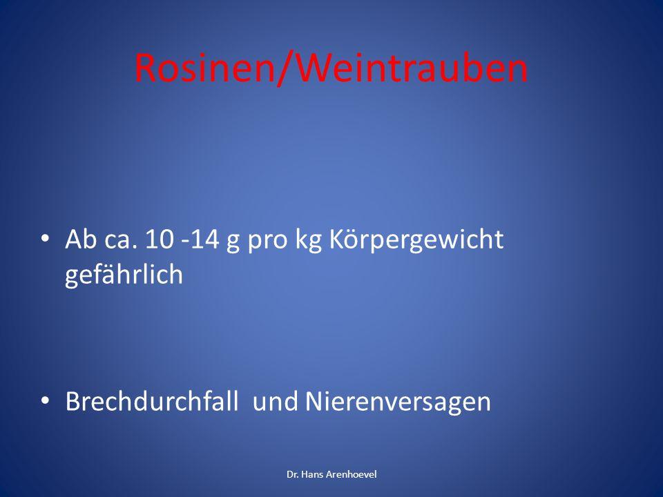 Rosinen/Weintrauben Ab ca. 10 -14 g pro kg Körpergewicht gefährlich Brechdurchfall und Nierenversagen Dr. Hans Arenhoevel