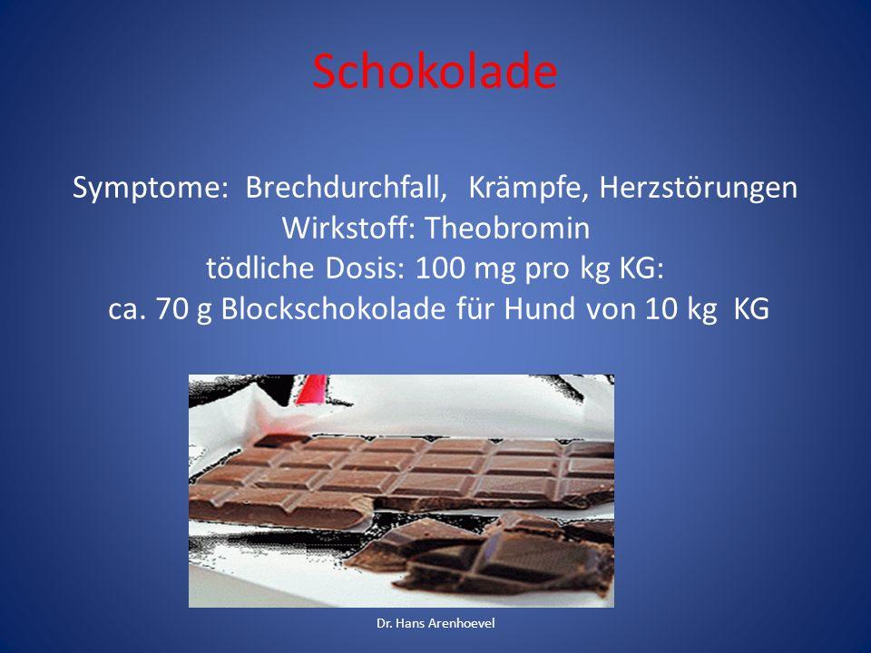 Schokolade Symptome: Brechdurchfall, Krämpfe, Herzstörungen Wirkstoff: Theobromin tödliche Dosis: 100 mg pro kg KG: ca. 70 g Blockschokolade für Hund