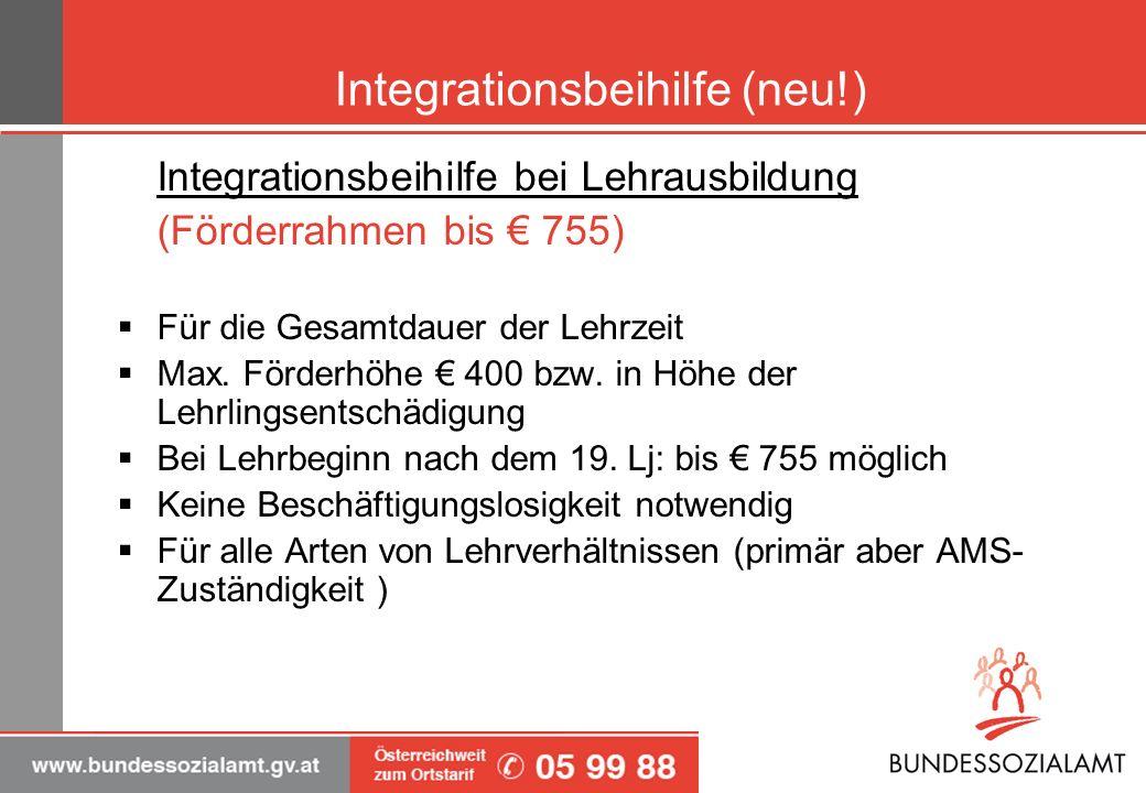 Integrationsbeihilfe (neu!) Integrationsbeihilfe bei Lehrausbildung (Förderrahmen bis 755) Für die Gesamtdauer der Lehrzeit Max. Förderhöhe 400 bzw. i