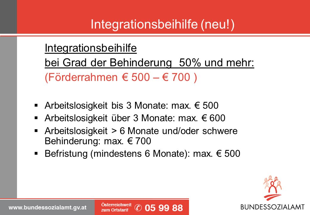Integrationsbeihilfe (neu!) Integrationsbeihilfe bei Grad der Behinderung 50% und mehr: (Förderrahmen 500 – 700 ) Arbeitslosigkeit bis 3 Monate: max.