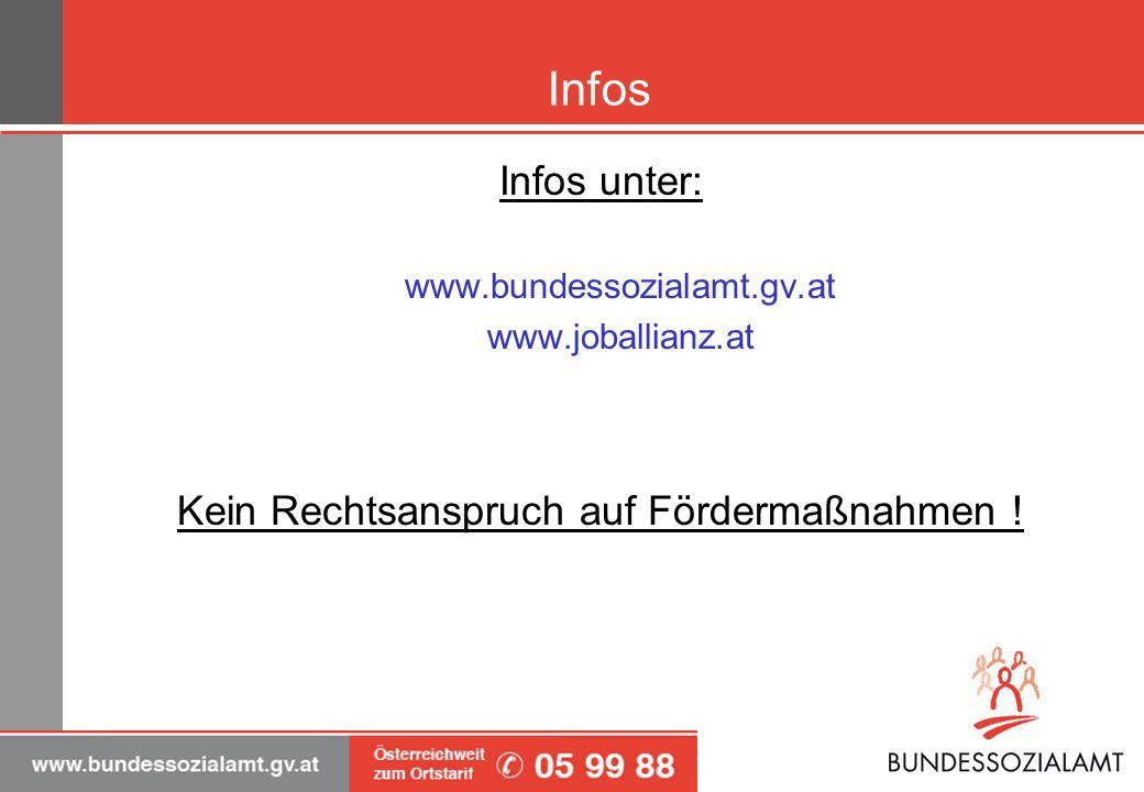 Infos Infos unter: www.bundessozialamt.gv.at www.joballianz.at Kein Rechtsanspruch auf Fördermaßnahmen !