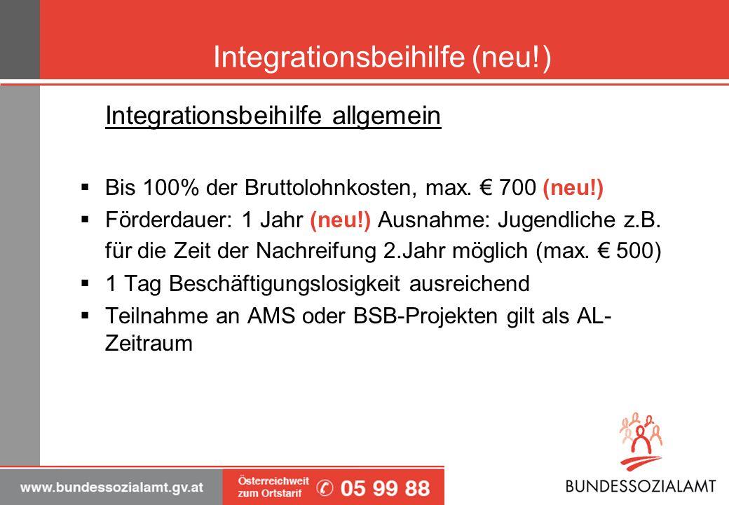 Integrationsbeihilfe (neu!) Integrationsbeihilfe allgemein Bis 100% der Bruttolohnkosten, max. 700 (neu!) Förderdauer: 1 Jahr (neu!) Ausnahme: Jugendl