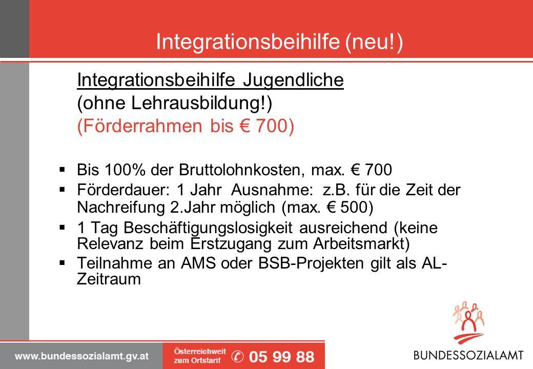 Integrationsbeihilfe (neu!) Integrationsbeihilfe Jugendliche (ohne Lehrausbildung!) (Förderrahmen bis 700) Bis 100% der Bruttolohnkosten, max. 700 För
