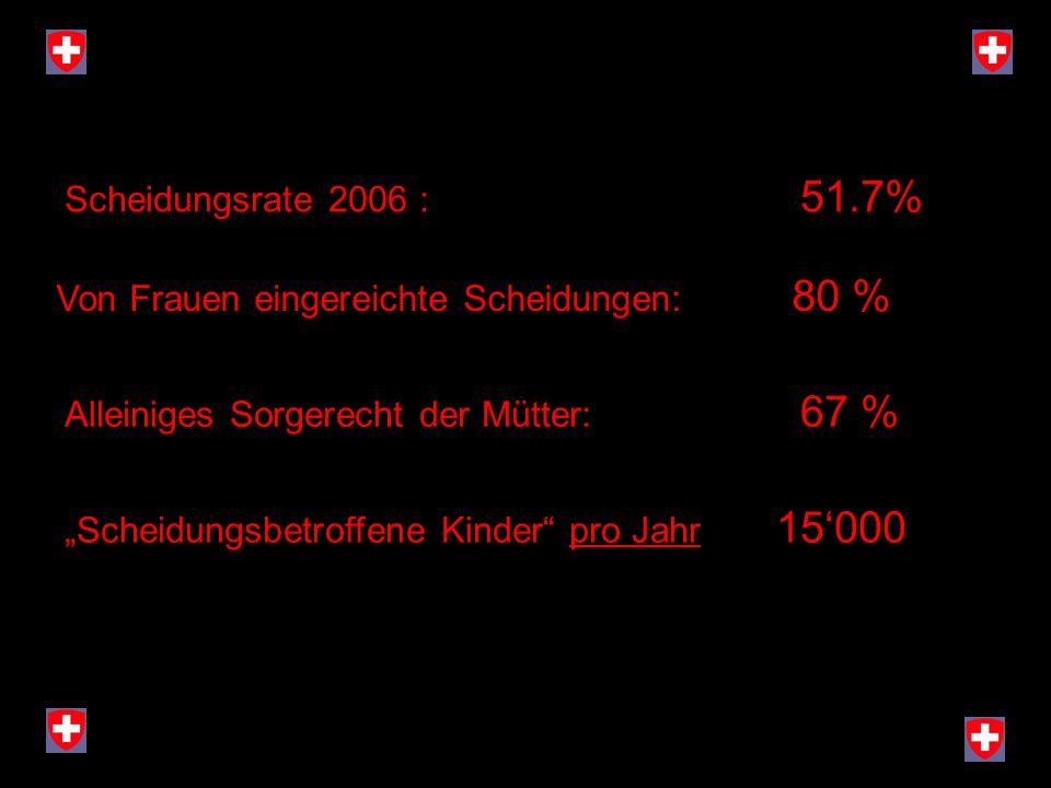 Scheidungsrate 2006 : 51.7% Von Frauen eingereichte Scheidungen: 80 % Alleiniges Sorgerecht der Mütter: 67 % Scheidungsbetroffene Kinder pro Jahr 15 0