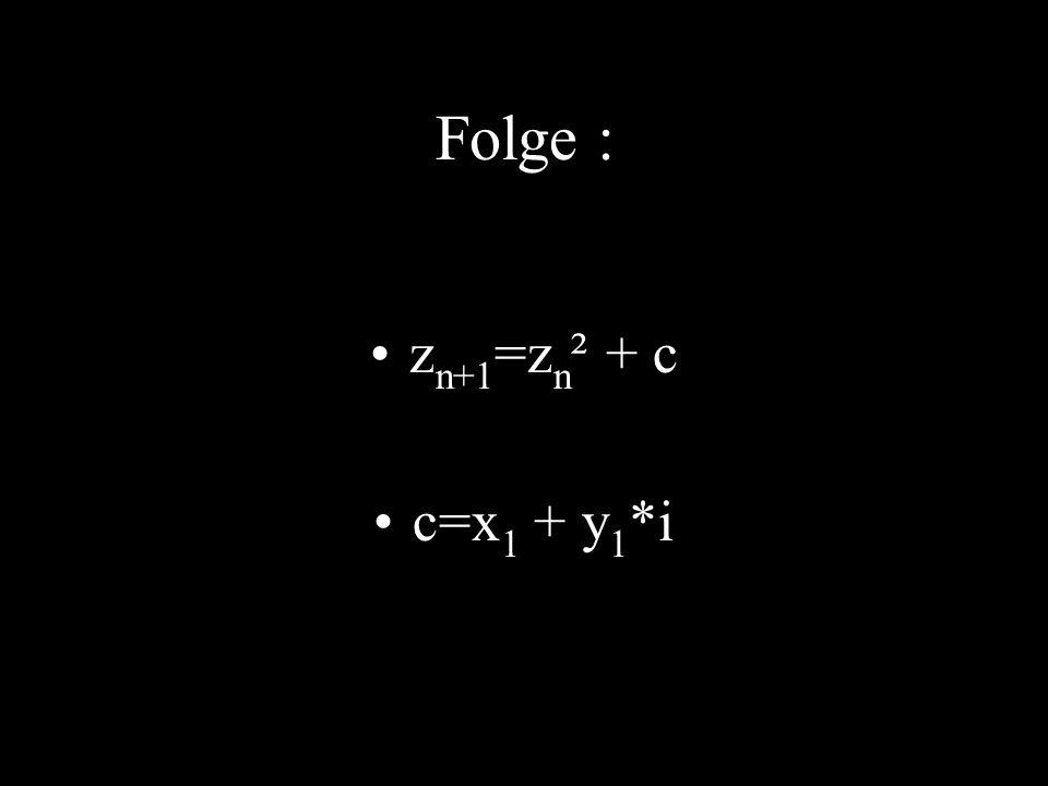 Folge : z n+1 =z n ² + c c=x 1 + y 1 *i