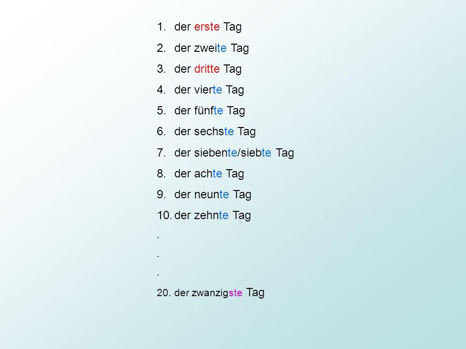 Tvoření řadových číslovek: Člen + základní číslovka + koncovka Der, die, daszwei-te 1-19 -ste 20 +fünfzig 25.