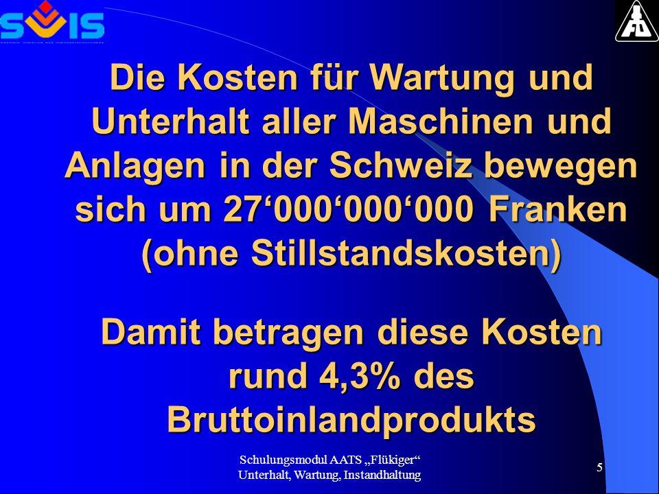 Schulungsmodul AATS Flükiger Unterhalt, Wartung, Instandhaltung 5 Die Kosten für Wartung und Unterhalt aller Maschinen und Anlagen in der Schweiz bewe