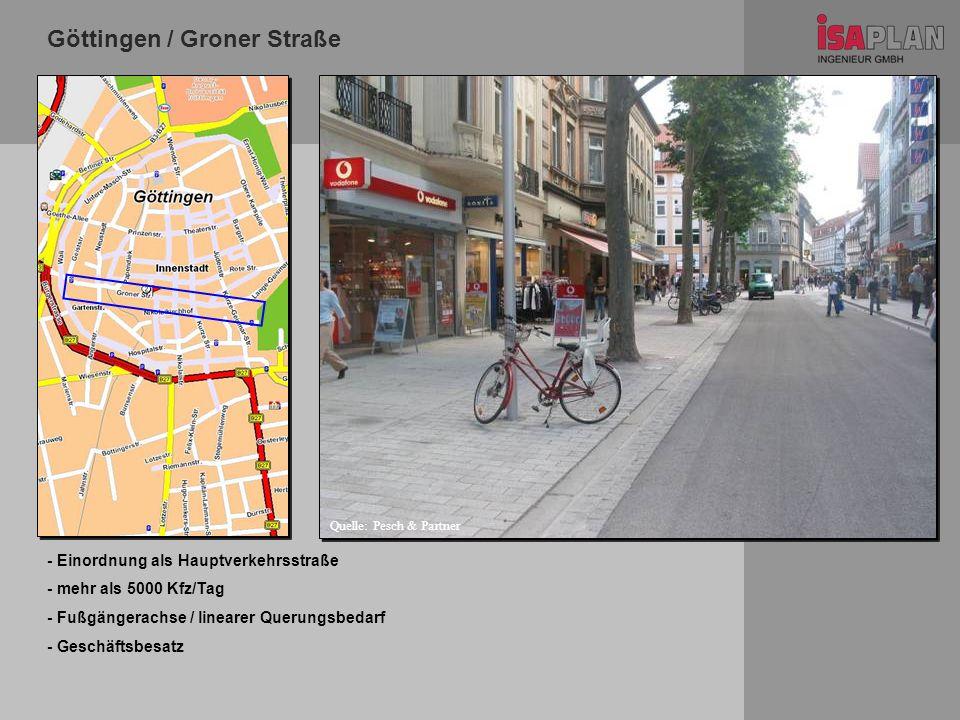 Göttingen / Groner Straße - Einordnung als Hauptverkehrsstraße - mehr als 5000 Kfz/Tag - Fußgängerachse / linearer Querungsbedarf - Geschäftsbesatz Qu