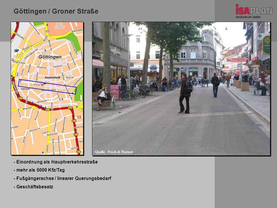 Göttingen / Groner Straße Stadtplan - Einordnung als Hauptverkehrsstraße - mehr als 5000 Kfz/Tag - Fußgängerachse / linearer Querungsbedarf - Geschäft