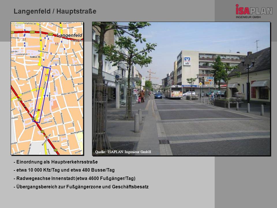 Langenfeld / Hauptstraße - Einordnung als Hauptverkehrsstraße - etwa 10 000 Kfz/Tag und etwa 480 Busse/Tag - Radwegeachse Innenstadt (etwa 4600 Fußgän