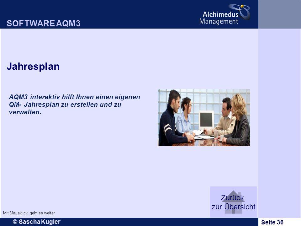 © Sascha Kugler Seite 36 AQM3 interaktiv hilft Ihnen einen eigenen QM- Jahresplan zu erstellen und zu verwalten. SOFTWARE AQM3 Jahresplan Zurück zur Ü