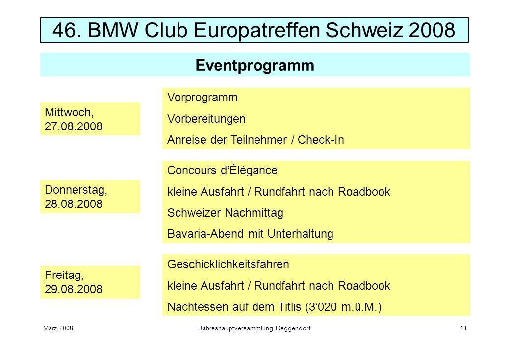 März 2008Jahreshauptversammlung Deggendorf11 46. BMW Club Europatreffen Schweiz 2008 Mittwoch, 27.08.2008 Vorprogramm Vorbereitungen Anreise der Teiln