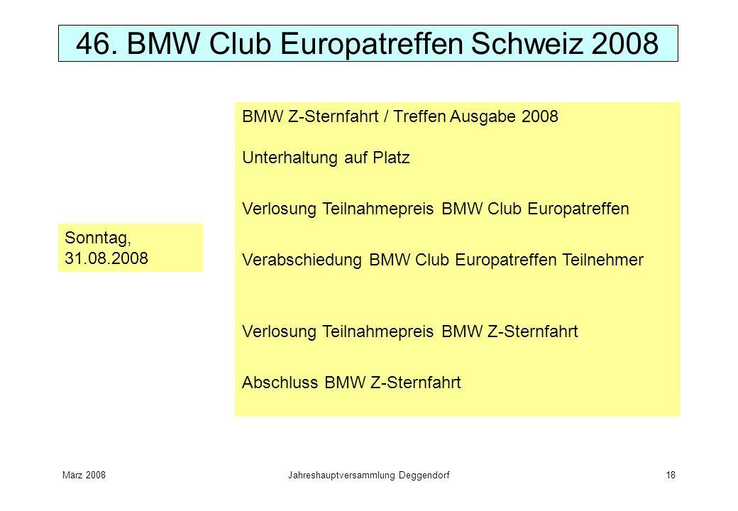 März 2008Jahreshauptversammlung Deggendorf18 46. BMW Club Europatreffen Schweiz 2008 Sonntag, 31.08.2008 BMW Z-Sternfahrt / Treffen Ausgabe 2008 Unter
