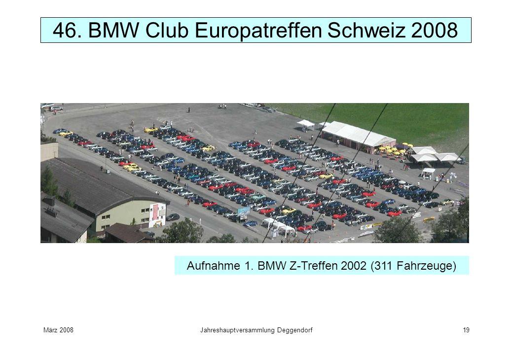 März 2008Jahreshauptversammlung Deggendorf19 46. BMW Club Europatreffen Schweiz 2008 Aufnahme 1. BMW Z-Treffen 2002 (311 Fahrzeuge)
