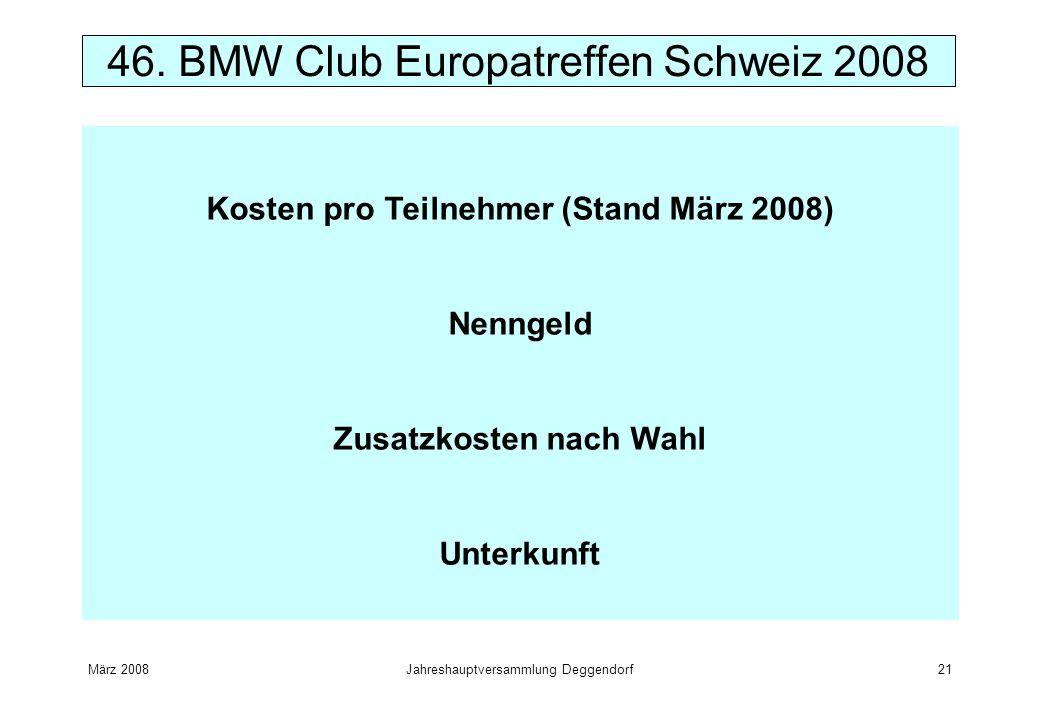 März 2008Jahreshauptversammlung Deggendorf21 46. BMW Club Europatreffen Schweiz 2008 Kosten pro Teilnehmer (Stand März 2008) Nenngeld Zusatzkosten nac