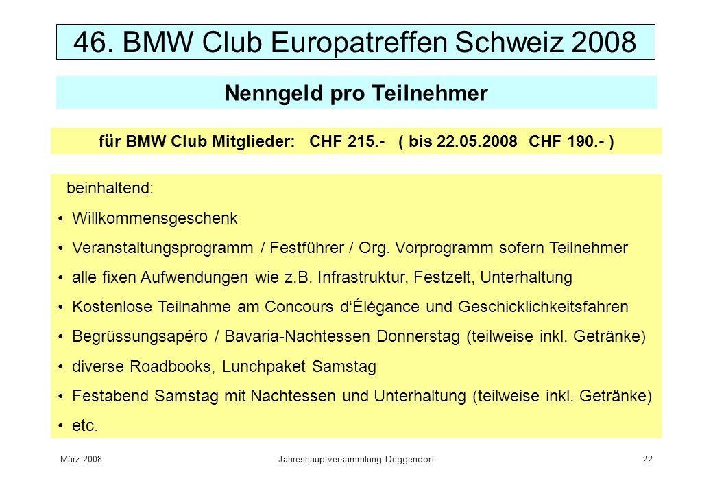 März 2008Jahreshauptversammlung Deggendorf22 46. BMW Club Europatreffen Schweiz 2008 Nenngeld pro Teilnehmer beinhaltend: Willkommensgeschenk Veransta
