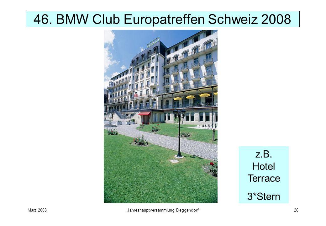 März 2008Jahreshauptversammlung Deggendorf26 46. BMW Club Europatreffen Schweiz 2008 z.B. Hotel Terrace 3*Stern