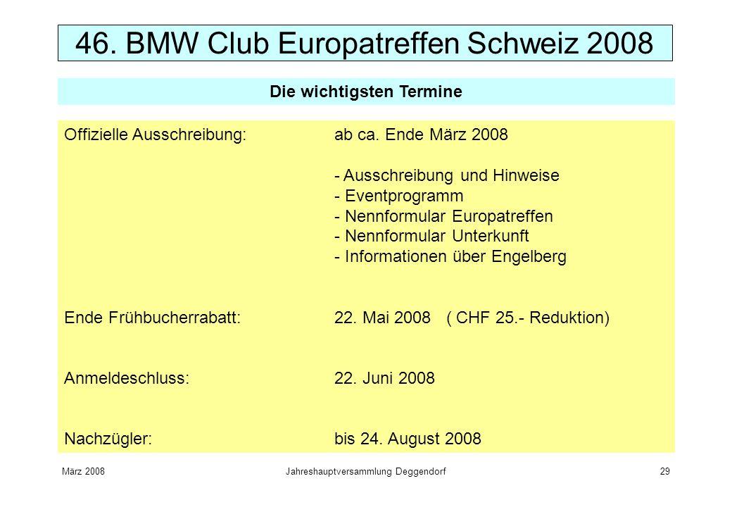 März 2008Jahreshauptversammlung Deggendorf29 Offizielle Ausschreibung:ab ca. Ende März 2008 - Ausschreibung und Hinweise - Eventprogramm - Nennformula