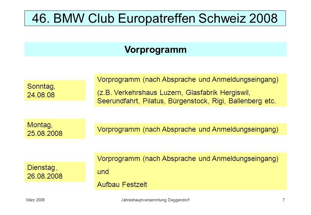 März 2008Jahreshauptversammlung Deggendorf7 46. BMW Club Europatreffen Schweiz 2008 Vorprogramm Sonntag, 24.08.08 Vorprogramm (nach Absprache und Anme