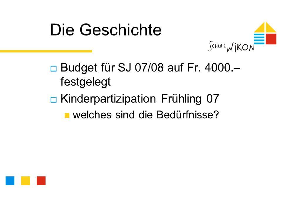 Die Geschichte Budget für SJ 07/08 auf Fr.