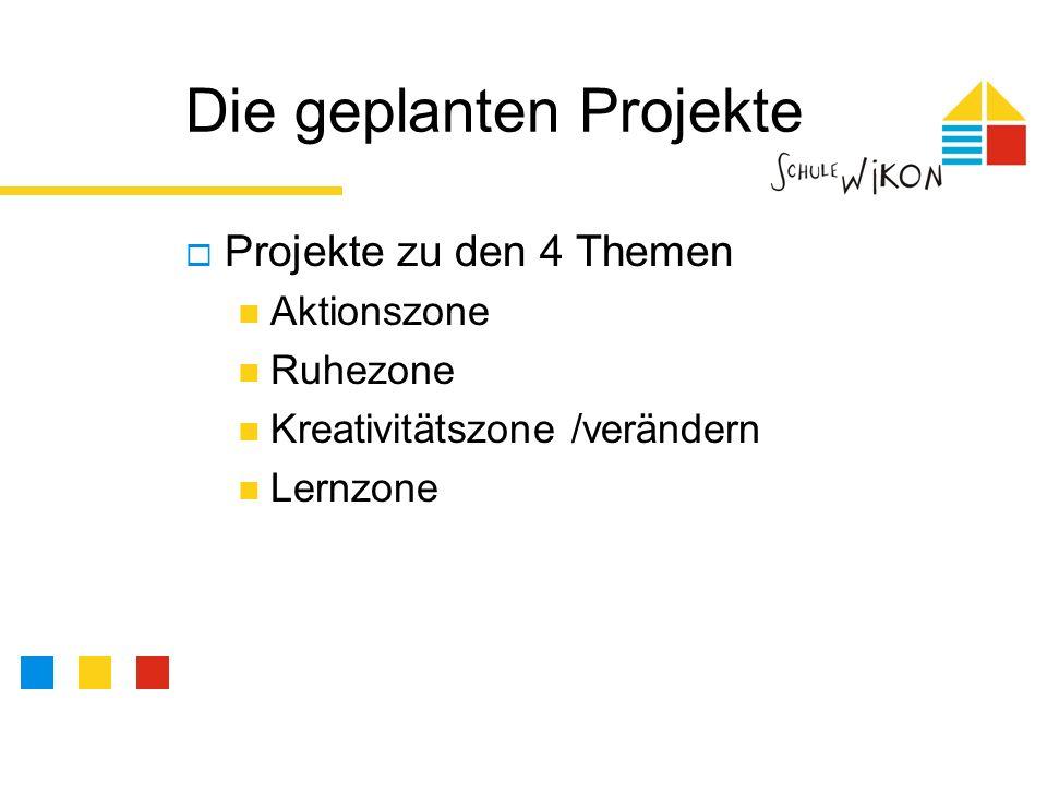 Die geplanten Projekte Projekte zu den 4 Themen Aktionszone Ruhezone Kreativitätszone /verändern Lernzone