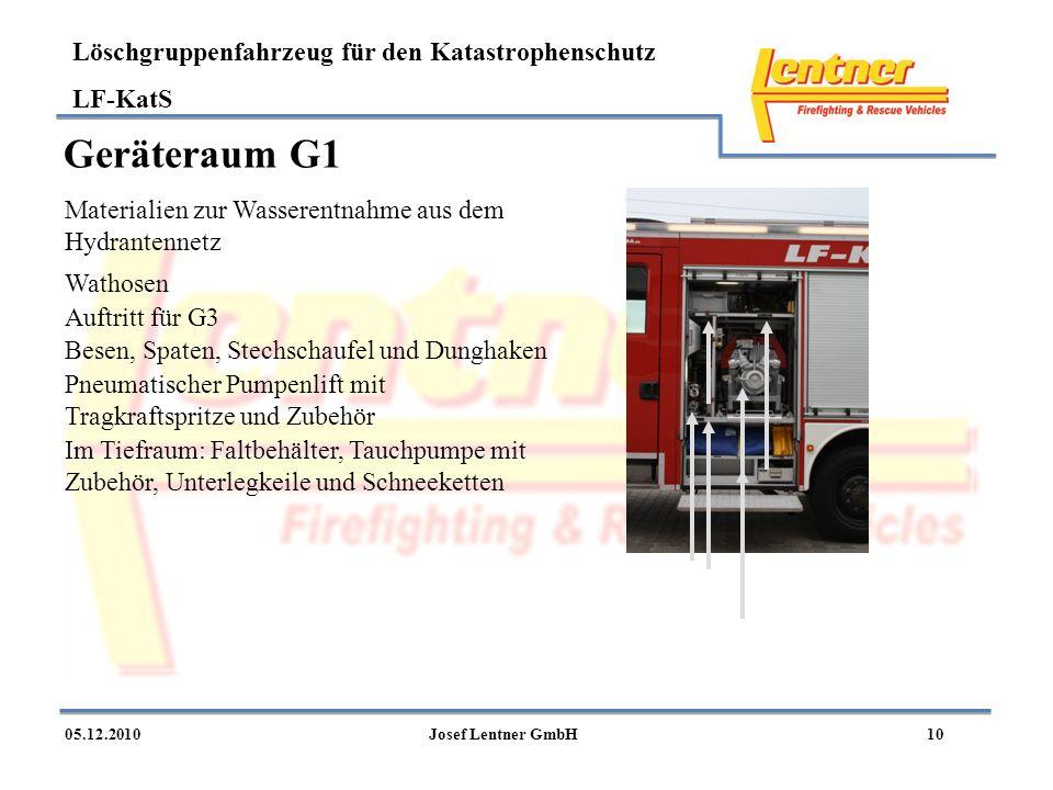 Löschgruppenfahrzeug für den Katastrophenschutz LF-KatS 1005.12.2010Josef Lentner GmbH Geräteraum G1 Pneumatischer Pumpenlift mit Tragkraftspritze und