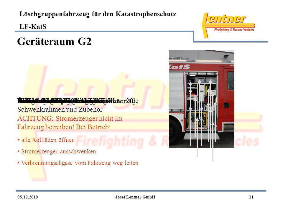 Löschgruppenfahrzeug für den Katastrophenschutz LF-KatS 1105.12.2010Josef Lentner GmbH Geräteraum G2 Ablage mit VerkehrsleitkegelnKunststoffkiste Schu