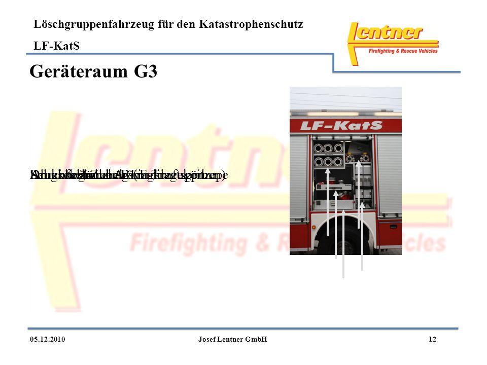 Löschgruppenfahrzeug für den Katastrophenschutz LF-KatS 1205.12.2010Josef Lentner GmbH Geräteraum G3 Druckschläuche B (in Tragekörben)Druckbegrenzungs