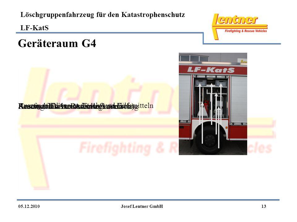 Löschgruppenfahrzeug für den Katastrophenschutz LF-KatS 1305.12.2010Josef Lentner GmbH Geräteraum G4 Auszug mit diversen Lösch- und Hilfsmitteln Auszu