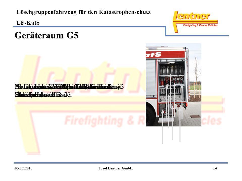 Löschgruppenfahrzeug für den Katastrophenschutz LF-KatS 1405.12.2010Josef Lentner GmbH Geräteraum G5 Druckschläuche C (in Tragekörben 4 x 3 Stück) Abl