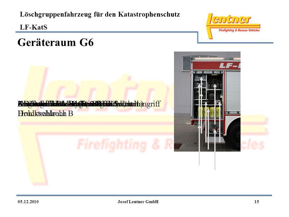 Löschgruppenfahrzeug für den Katastrophenschutz LF-KatS 1505.12.2010Josef Lentner GmbH Geräteraum G6 2 Druckschläuche C (in Buchten) mit Hohlstrahlroh