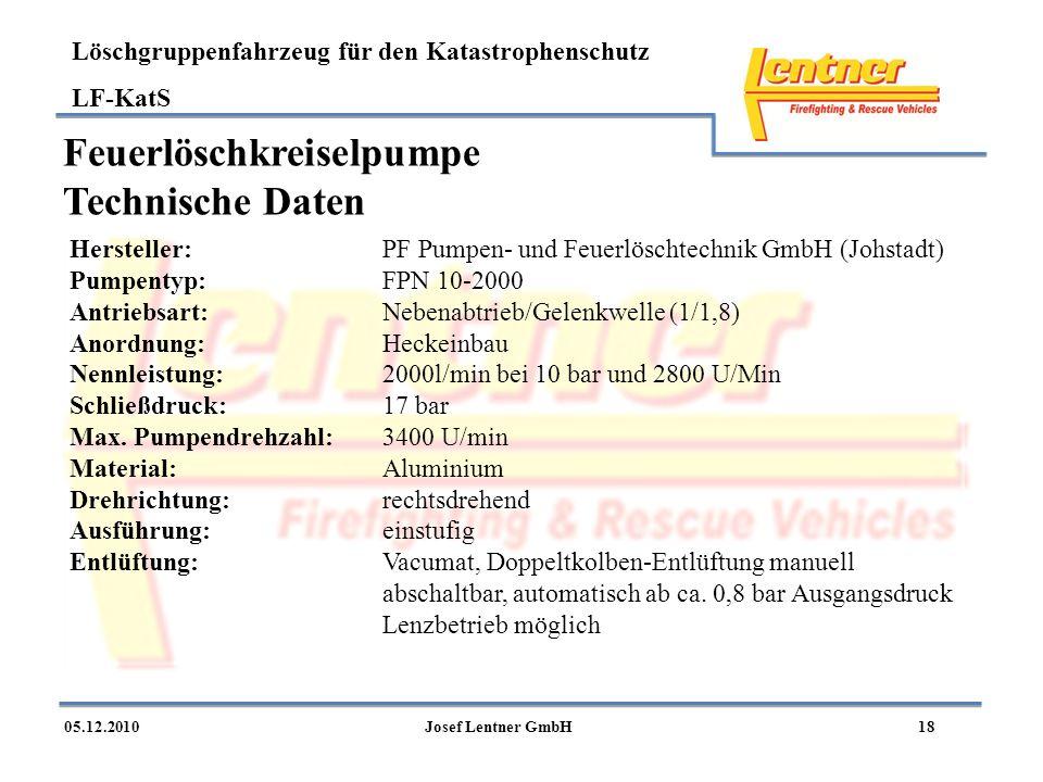 Löschgruppenfahrzeug für den Katastrophenschutz LF-KatS 1805.12.2010Josef Lentner GmbH Feuerlöschkreiselpumpe Technische Daten Hersteller:PF Pumpen- u