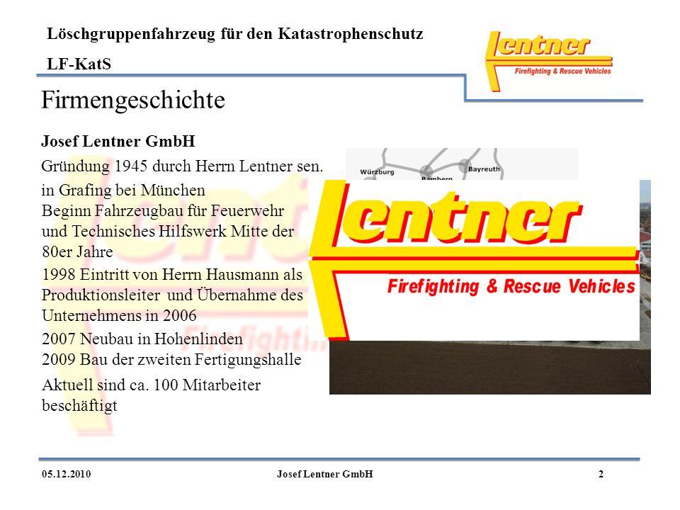 LF-KatS 205.12.2010Josef Lentner GmbH Firmengeschichte Josef Lentner GmbH Gründung 1945 durch Herrn Lentner sen. in Grafing bei München 1998 Eintritt