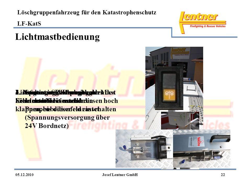 Löschgruppenfahrzeug für den Katastrophenschutz LF-KatS 2205.12.2010Josef Lentner GmbH Lichtmastbedienung 1.Spannungsversorgung des Lichtmastes am Pum