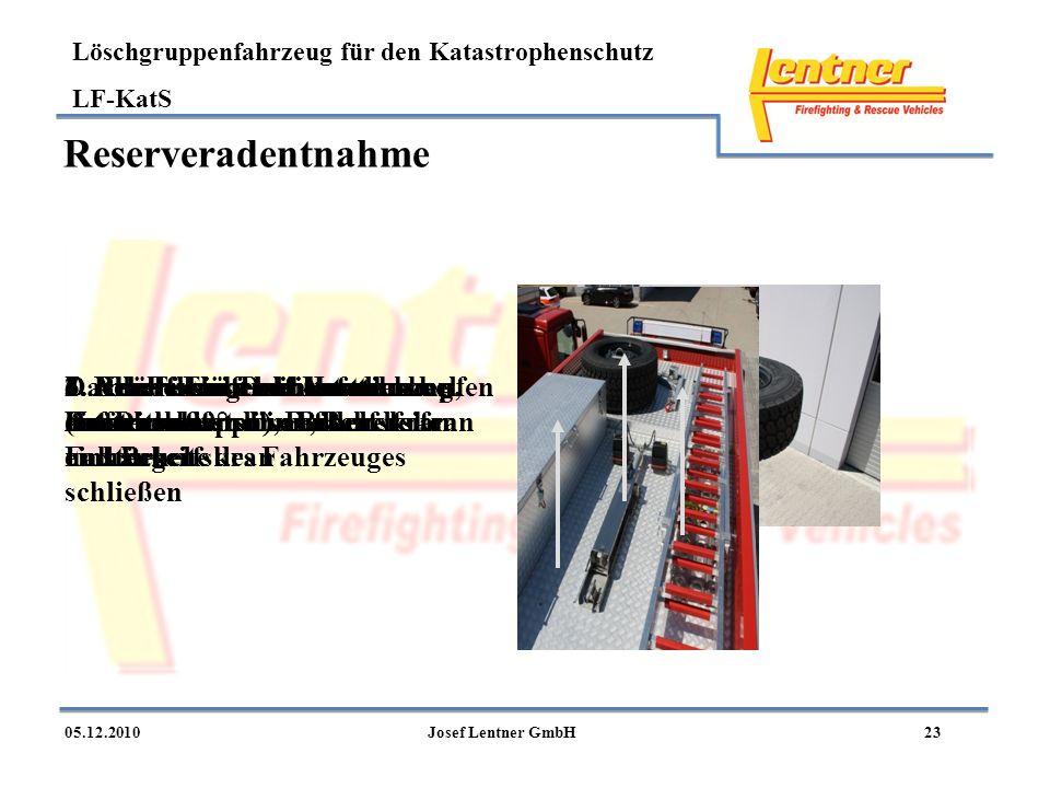 Löschgruppenfahrzeug für den Katastrophenschutz LF-KatS 2305.12.2010Josef Lentner GmbH Reserveradentnahme Dachübersicht mit Handkurbel (im Dachkasten)