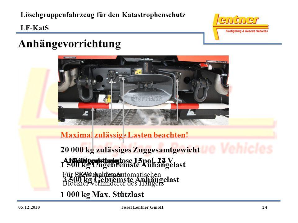 Löschgruppenfahrzeug für den Katastrophenschutz LF-KatS 2405.12.2010Josef Lentner GmbH Anhängevorrichtung AbschleppstangeAnhängersteckdose 15pol. 24 V