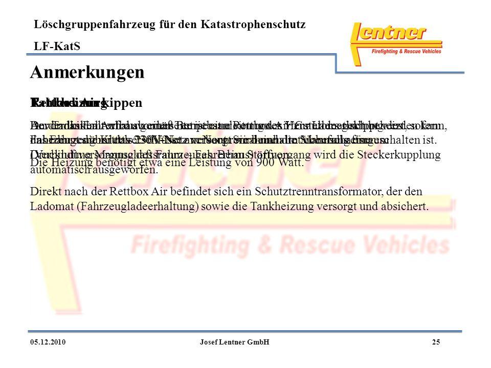 Löschgruppenfahrzeug für den Katastrophenschutz LF-KatS 2505.12.2010Josef Lentner GmbH Anmerkungen Rettbox Air An der linken Aufbauvorderseite ist ein