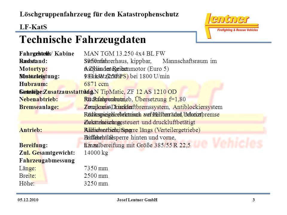 Löschgruppenfahrzeug für den Katastrophenschutz LF-KatS 305.12.2010Josef Lentner GmbH Technische Fahrzeugdaten Fahrgestell:MAN TGM 13.250 4x4 BL FW Ra