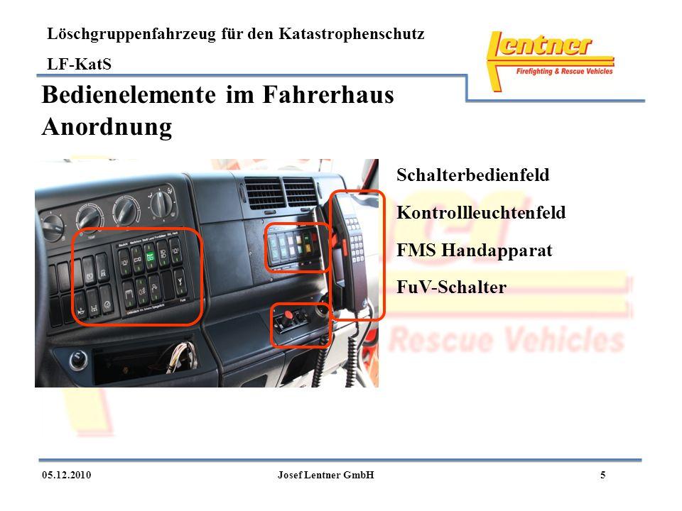 Löschgruppenfahrzeug für den Katastrophenschutz LF-KatS 505.12.2010Josef Lentner GmbH Bedienelemente im Fahrerhaus Anordnung Schalterbedienfeld FMS Ha