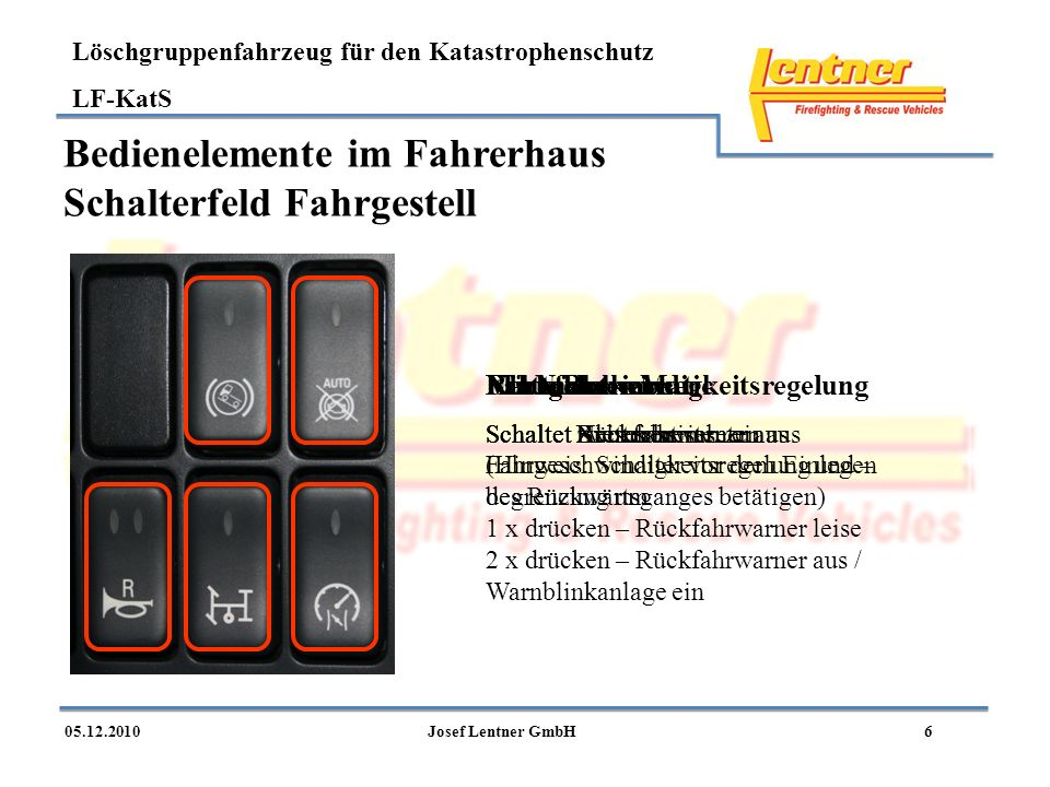 Löschgruppenfahrzeug für den Katastrophenschutz LF-KatS 605.12.2010Josef Lentner GmbH Bedienelemente im Fahrerhaus Schalterfeld Fahrgestell Rückfahrwa