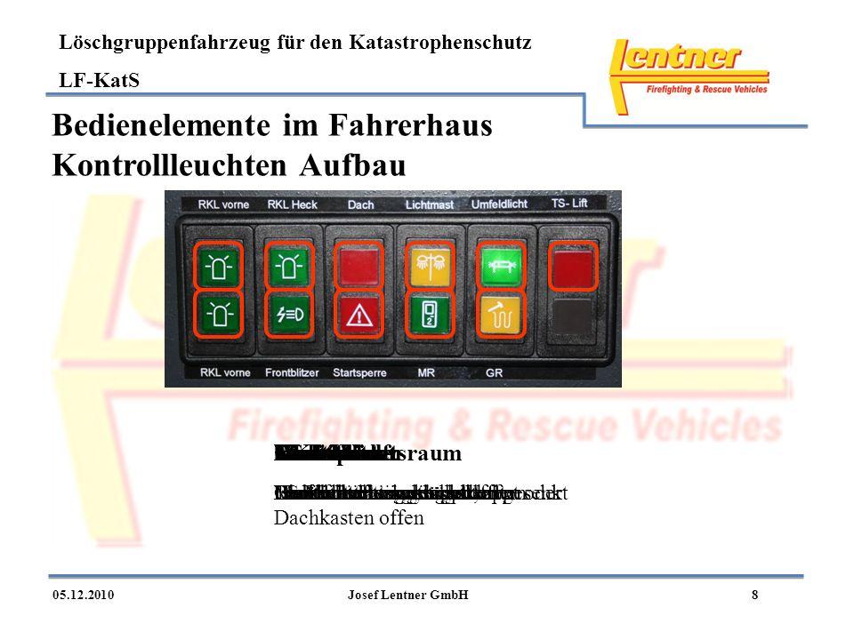 Löschgruppenfahrzeug für den Katastrophenschutz LF-KatS 805.12.2010Josef Lentner GmbH Bedienelemente im Fahrerhaus Kontrollleuchten Aufbau RKL vorne B