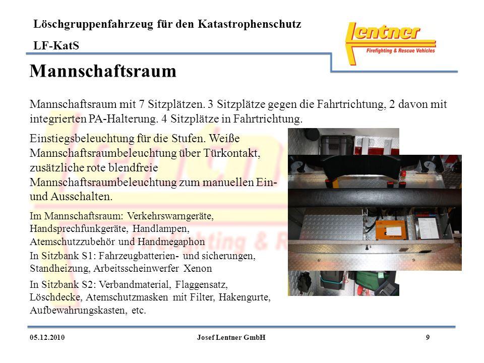 Löschgruppenfahrzeug für den Katastrophenschutz LF-KatS 905.12.2010Josef Lentner GmbH Mannschaftsraum Mannschaftsraum mit 7 Sitzplätzen. 3 Sitzplätze