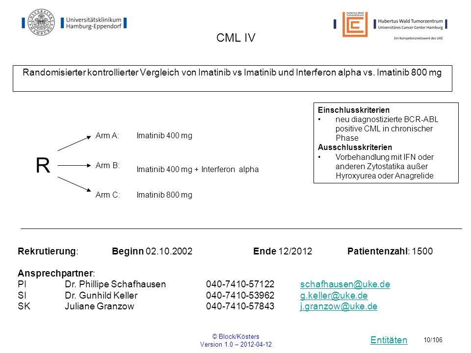 Entitäten © Block/Kösters Version 1.0 – 2012-04-12 10/106 CML IV Randomisierter kontrollierter Vergleich von Imatinib vs Imatinib und Interferon alpha