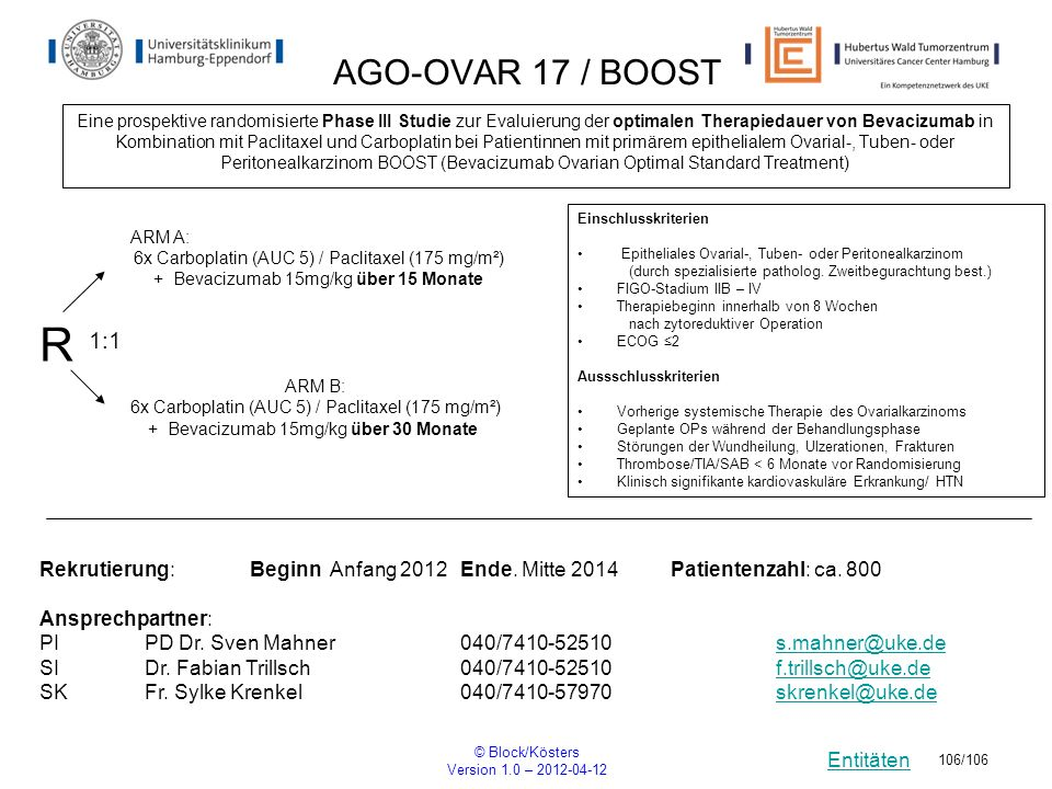 Entitäten © Block/Kösters Version 1.0 – 2012-04-12 106/106 AGO-OVAR 17 / BOOST Eine prospektive randomisierte Phase III Studie zur Evaluierung der opt